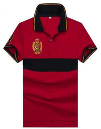 polo big horse UK - Hot Sale Men's Striped Polo Shirts Big Horse Embroidery High Quality Cotton Boys Casual Polos Fitness T-Shirt White Navy Blue Red