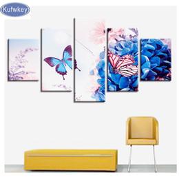 $enCountryForm.capitalKeyWord Australia - full display Diamond mosaic blue flower butterfly 5 Pieces 3d Cross Stitch DIY diamond Painting full round square diamonds
