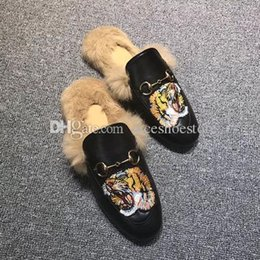 7efe14a6aec69 Famous velvet Prince town Muller woman leather rabbit fur slippers women  wool loafers slipper lady mules casual shoes with box Many Colors
