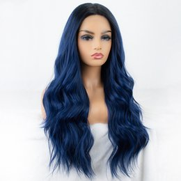 long wavy dark blue wig UK - Mixed Blue Synthetic Lace Front Wig Long Wavy Ombre Blue Wigs for Women Dark Roots 2 Tones Hair Glueless High Temperature Fiber