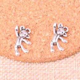 $enCountryForm.capitalKeyWord Australia - 104pcs Charms gymnastics lovely bear Antique Silver Plated Pendants Fit Jewelry Making Findings Accessories 19*10mm