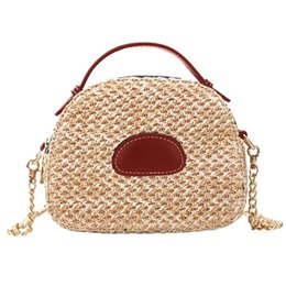 $enCountryForm.capitalKeyWord Australia - Women Handbag Summer Beach Bag Rattan Woven Handmade Knitted Straw Totes Leather Women Shoulder Bag Bohemia Saddle Bags Bolsa