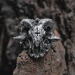 Gothic Christmas Gift NZ - Unique Punk Gothic Satanic Demon Sorath Skull Ring Men 316L Stainless Steel Biker Ring Baphomet Jewelry Gift