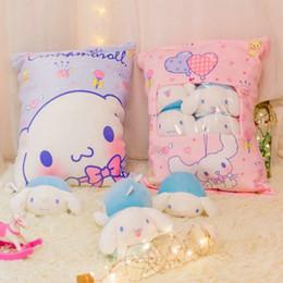 Plush Throw Pillows Australia - A bag of 8pcs Cinnamoroll & pink melody rabbit toy Stuffed plush japan anime figure doll Creative cushion kitty throw Pillow