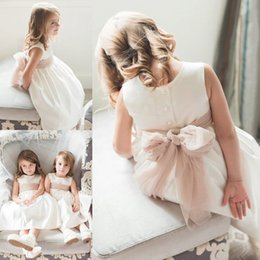 d4b40ed6bf Cheap Sleeveless Tulle Satin Flower Girls Dress Simple Jewel Neck Tea  Length Child First Holy Communion Dresses With Bow