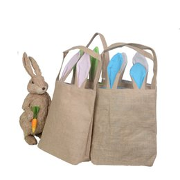 Cloth Materials Australia - Fast Shipping Wholesale Easter Bag 100pcs lot Hot Easter Bunny Candy Bags Jute Cloth Material Gift Bags Decoration