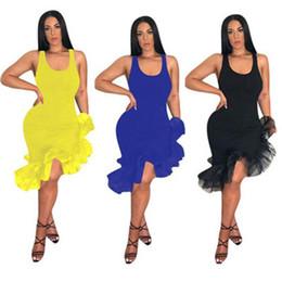 T Shirt Ruffle Dress Australia - Women Casual Ruffles Dresses New Stylish Mini T shirt Club Dress Summer Clothing Slim Lrregular Hem Sleeveless Plus Size Clothing S-2XL