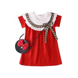 $enCountryForm.capitalKeyWord UK - girls dress 2019 INS summer new Girls kids sleeveless lace Round collar letter bowtie high quality cotton girl's dress 3 colors