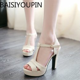 $enCountryForm.capitalKeyWord NZ - Small Code 31 32 33 Super High Heels Sandals Female Shoes Summer Thick Fish Mouth Paltform T-type Buckle Shoes Big Size 41 43 Y19070303