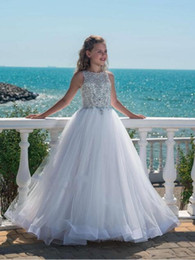 Hot Teens Dresses NZ - Hot Selling Crystal Girls Pageant Dresses With For Teens Tulle Floor Length Beach Luxurious Flower Girl Dresses For Weddings Custom Made