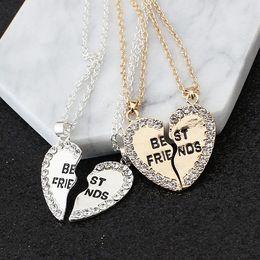 $enCountryForm.capitalKeyWord Australia - Fashion two petals heart crystal best friend necklace good friend necklace friendship pendant necklace wholsale K5263