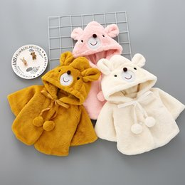 Girls Cotton Poncho Wholesale Australia - Baby Poncho Winter Bear Style Coat Cloak Jacket Thick Cartoon Clothes Baby Girl Cute Hooded Coats