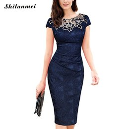 Mothers Suits Australia - Women Elegant Crochet Lace Embroidery Flower Casual Party Evening Mother of Bride Special Occasion Bodycon One Piece Dress Suit