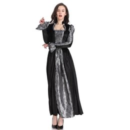 Discount vampire costumes for women Black Gothic Anime Vampire Costume for Women Victorian Queen Masquerade Costume For Halloween carnival Costumes