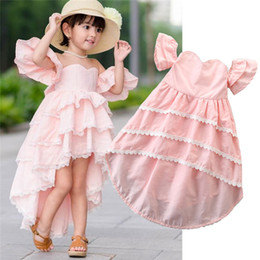 Discount lace asymmetrical bridesmaid dresses - 2019 Toddler Kids Baby Girl Lace Dress Off Shoulder Summer Ruffle Party Bridesmaid Pageant Dresses Pink
