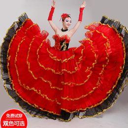 Dress Nation Australia - New Female Adult Red Nation Long Dress Opening Dance Full-skirt Spanish Flamenco Dance Performance Chorus Costume Suit H616
