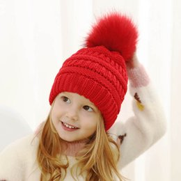wholesale hand knitted beanies Australia - Ins 2019 new Winter kids designer hats Kids Hats Boys Hats Girls Caps Baby Hat Baby Beanies Crochet Hat Hand Knitted Caps A8563