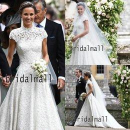 Short wedding dreSS church online shopping - High Neck Vintage Lace Church Wedding Dresses With Short Sleeves Elegant Country Boho Bridal Gowns Plus Size Custom Made Vestido De Noiva