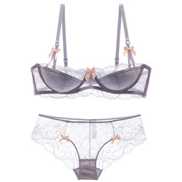 Gather bra linGerie online shopping - shaonvmeiwu Sexy lace thin cotton lingerie bra set with cotton cushion inserts gathers a large bra
