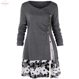 long sleeve tunic tee NZ - Size Plus 5Xl Button Draped Floral Tunic Shirts Long Sleeve Long O-Neck Buttons Embellished Women Blouse Spring Casual Tops Tee