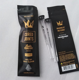 Wholesale west coast cure joints 1 joint pre roll tube with zipper mylar bag packaging clear cone prerolling tube