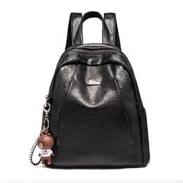 Brown Bear Backpack Australia - Fashion Leather Backpack Preppy Style Shoulder Bag Toy Bear School Backpack Travel Bag Waterproof Ipad Bags Patchwork Bag