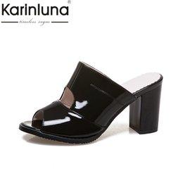$enCountryForm.capitalKeyWord NZ - Karinluna Brand Shoes Women Large Size 31-47 Summer Woman Shoes Black White High Heels Slippers Footwear Slides