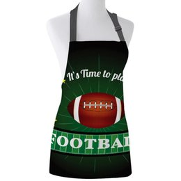 Discount kitchen curtains designs Kitchen Apron Gymnasium Soccer Curtains Balls Football Design Adjustable Bib Canvas Aprons For Women Cooking Baking Pina