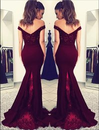 spring water sale Canada - Hot Sale Mermaid Formal Evening Dresses Sweep Train Dark Red Chiffon Lace Bridesmaid Dresses With Beaded Off The Shoulder Long Prom Gowns