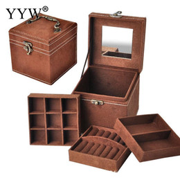 $enCountryForm.capitalKeyWord UK - 12x12x12cm Vintage Velvet Three-tier Jewelry Box Multideck Storage Cases With Wood Mirror High Quality Wedding Birthday Gift T7190613
