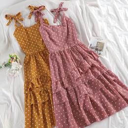 $enCountryForm.capitalKeyWord Australia - Skoonheid Summer Vintage Polka Dot Long Dress Women Boho Sleeveless Chiffon Strap Ruched Dress Romantic Korean Tiered Sundress Y19073101