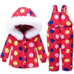 BaBy warmer suit online shopping - Winter Thicken Warm Children Snowsuit Baby Down Jacket Suit Cartoon Clothes Pants Jacket for Ski Baby And Girls Boys Down Coat
