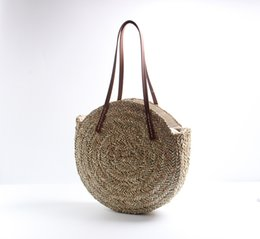 China Women Woven Round Straw Bags Natural Oval Beach Bag Big Tote Circle Handbag leather strap outdoors travel handbags QQA427 supplier woven tote bags wholesale suppliers