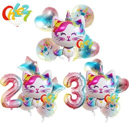 balloons cats UK - 6pcs Rainbow Unicorn Cat Foil balloon 32inch Gradient color Number ballon Birthday Wedding Party Decoration supplies Baby Shower