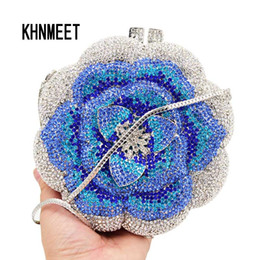 flowers blue Australia - Designer Flower Blue Crystal Evening Bag Women Party Purse Customized Clutch Bags chain Mini Female handbags Day Clutches SC603