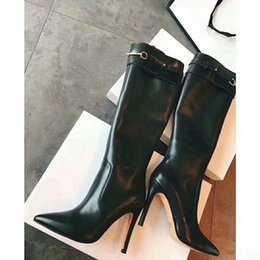 Discount desing fashion - High Quality Woman Pointed Toe Side Zipper Knee Boots Brand Desing Sexy Over Knee Boots Black Stiletto Heel Luxury Brand