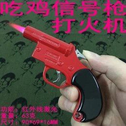$enCountryForm.capitalKeyWord Australia - New Arrival Genuine No. 89 Metal Chicken Dinner Signal Pistol Lighter Gun Model With Infrared Laser Inflatable Windproof Lighter Gun Torch