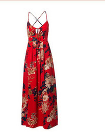 $enCountryForm.capitalKeyWord UK - New Fashion Red Floral Print Sexy Lace Up V Neck Women Maxi Dresses Summer Split Backless Beach Long Vestidos Boho Dress
