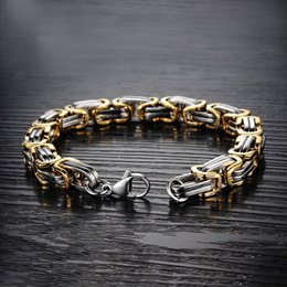 silver bracelets mens hand UK - gold silver bracelets mens stainless steel Byzantium charm bracelet chain on hand gifts for a male accessories hip hop bracelet