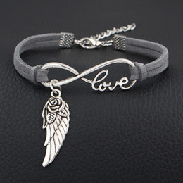 Flower Gift For Love Australia - New Style Single Layer Dark Gray Leather Suede Bracelet for women Men lovers Infinity Love Flower Wing Angel Statement Jewelry Pulseira Gift