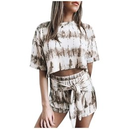 Discount womens sexy night shirts Pajamas Set Womens Tie-dye Short Sleeve Pajama Set Night Loungewear Crop Top +Shorts Home Sleepwear Suits pijama mujer