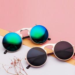 5260f86fad Gafas de sol Steampunk mujer polarizadas Retro gafas de sol redondas de  metal Hembra Flip Circular Doble sol Gafas CIRCLE para hombres UV400