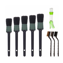 detail brushes Australia - 5pcs Car Cleaner Brush Set Including Brush Automotive Air Conditioner,Auto Detailing for Cleaning Wheels,Interior,Exterior