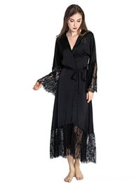 kimono underwear sleepwear UK - Summer Lace Patchwork Satin Kimono Robe Sexy Sleepwear Women's Underwear Underwear Lingerie Chemises Women Silk Long Nightgown Wedding bride