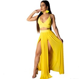 $enCountryForm.capitalKeyWord Australia - JENYAGE Women Backless Brithday Dress Sexy Straps V Neck Evening Party Night Club Slit Chiffon Long Maxi Two Piece Skirt Set 30