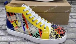 Discount graffiti shoes - New Designer Sneakers Red Bottom Shoe High Top Cut Leather Spike Luxury Graffiti Shoes For Men And Women Shoes Party Wed