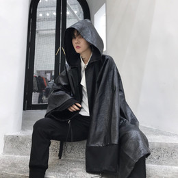 Long Jacket Costume Australia - Winter men black long leather trench coat hip hop punk cloak nightclub singer stage costume gothic style long jacket overcoat