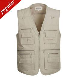 $enCountryForm.capitalKeyWord Australia - 4xl 5xl Spring Summer Men Plus Size Casual Vests Male Multi-pockets Cotton Waistcoats Outdoors Photography Thin Vest D147