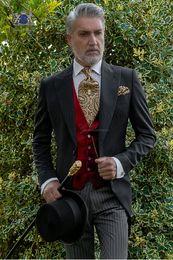 $enCountryForm.capitalKeyWord Australia - Black Tailcoat Men Wedding Tuxedos New Fashion Groom Tuxedos Peak Lapel One Button Men Dinner Prom clothes(Jacket+Pants+Tie+Vest) 1557