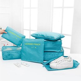Types Set Clothes Australia - Travel 7pcs Set Storage Bag Multi-function Home Waterproof Clothes Bag Large Capacity Luggage Finishing Bags Set With Shoe Bags DH0851 T03